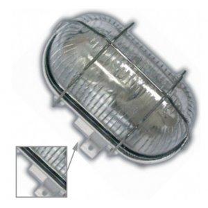 Герметичный светильник BL-1412 овал метал. реш. 60w белый + защелка белый