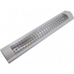 Люминисцентный светильник LM918R 2x18 T8 две лампы сереб. решетка (без ламп)