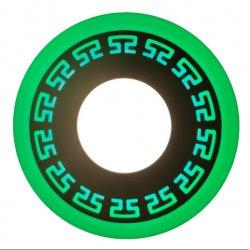 Точечный светильник LM543 Грек 12+6w с зелёной подсветкой 1080lm 4500k 175-265v круг