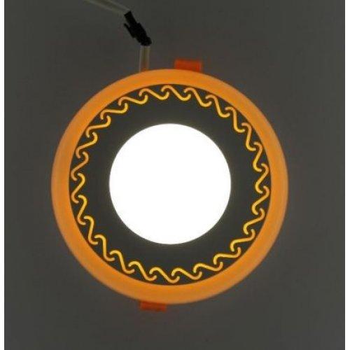 Точечный светильник LM539 Завитки 6+3w с синей подсветкой 540lm 4500k 175-265v круг