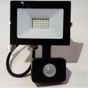 Прожектор светодиодный LMPS17 10w 6500k ip65 800lm 175-265v с датчиком чёрный