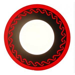 Точечный светильник LM534 Завитки 3+3w с красной подсветкой 350lm 4500k 175-265v круг