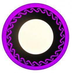Точечный светильник LM544 Завитки 12+6w с розовой подсветкой 1080lm 4500k 175-265v круг