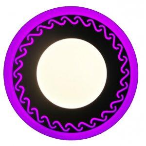 Точечный светильник LM534 Завитки 3+3w с розовой подсветкой 350lm 4500k 175-265v круг