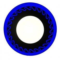 Точечный светильник LM544 Завитки 12+6w с синей подсветкой 1080lm 4500k 175-265v круг