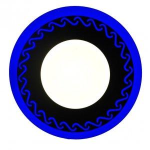 Точечный светильник LM534 Завитки 3+3w с синей подсветкой 350lm 4500k 175-265v круг