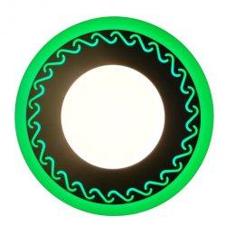 Точечный светильник LM544 Завитки 12+6w с зелёной подсветкой 1080lm 4500k 175-265v круг