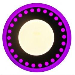 Точечный светильник LM547 Точечки 12+6w с розовой подсветкой 1080lm 4500k 175-265v круг
