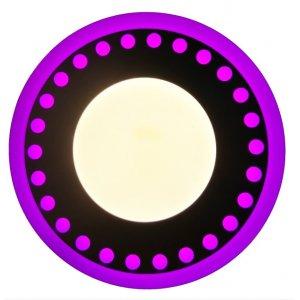Точечный светильник LM537 Точечки 3+3w с розовой подсветкой 350lm 4500k 175-265v круг