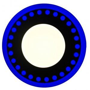Точечный светильник LM537 Точечки 3+3w с синей подсветкой 350lm 4500k 175-265v круг